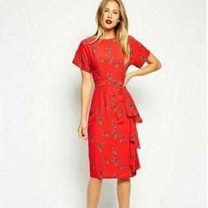 ASOS red swallow bird pencil dress